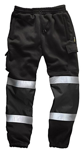 Signalfarbe Security Jogginghose / Trainingshose / Cargo Fleece-hose - Schwarz, L (Cargo-tasche Trainingshose)