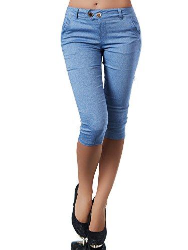 Diva-Jeans N827 Damen Caprihose Treggings Leggings Stoffhose Sommerhose Knielang 3/4 Capri, Farben:Blau, Größen:S
