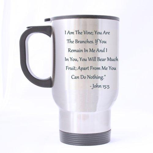Christian Church Gifts Presents Bible Verse I Am The Vine ; vous sont les branches... Tasse à thé/café/vin 100% en acier inoxydable 396,9 gram Mug de voyage