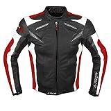 A-Pro Moto Giacca Pelle Motociclismo Sport Gilet Estraibile Protezioni CE Rosso XL