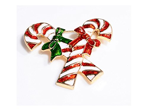 GOOTUOUOU Weihnachten Candy Cane Brosche Pin Strass überdachte Schals Schal Clip