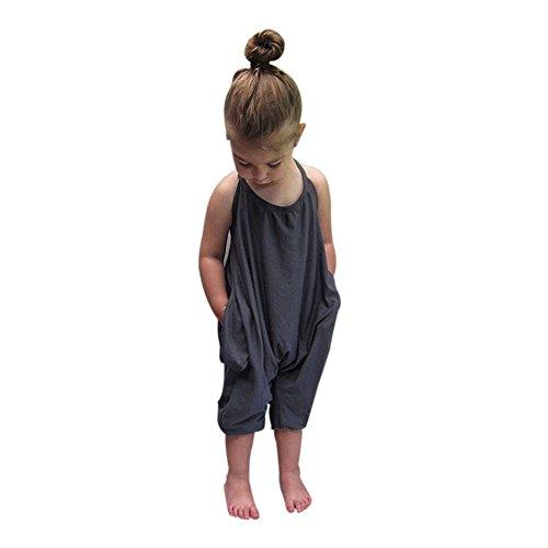 cinnamou Baby Mädchen Overalls Stück Hosen Rompers Jumpsuits Mädchen SommerKleidung (3T, Grau) (Halloween Kostüme 3t Boy)