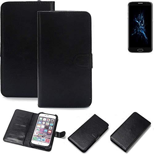 K-S-Trade® Wallet Case Handyhülle Für Bluboo Edge Schutz Hülle Smartphone Flip Cover Flipstyle Tasche Schutzhülle Flipcover Slim Bumper Schwarz, 1x