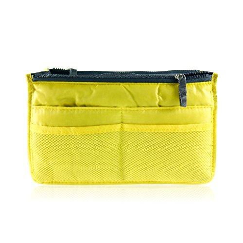 QHGstore Frauen Reißverschluss Organisator-Geldbeutel Ordentlich Make-up-Beutel-Handtasche Gelb