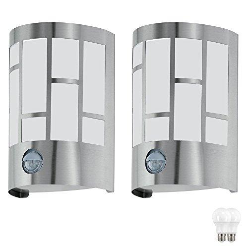 2er Set Wand Lampe Garten Bewegungs Melder Haus Tür Außen Leuchte im Set inkl. LED Leuchtmittel