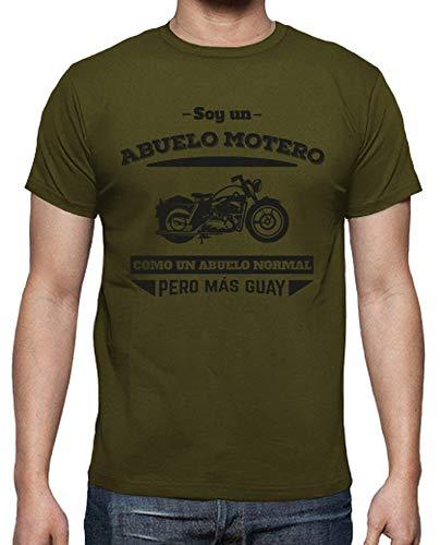 latostadora - Camiseta Abuelo Motero, para Hombre Army M