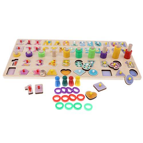 Homyl Montessori Brettspiele Set inkl. Stapel-Steckspiel + Buchstaben / Zahlen Blöcke + Geometrische Blöcke + Würfel für Kinder frühe Asubildung