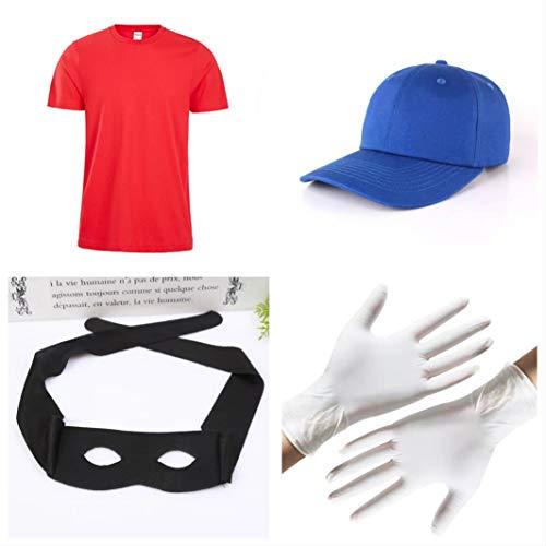 er Verkleidung 4-teilig - Mütze, Shirt, Handschuhe & Maske für Erwachsene - perfekt für Fasching, Karneval & Cosplay - Damen Herren ()