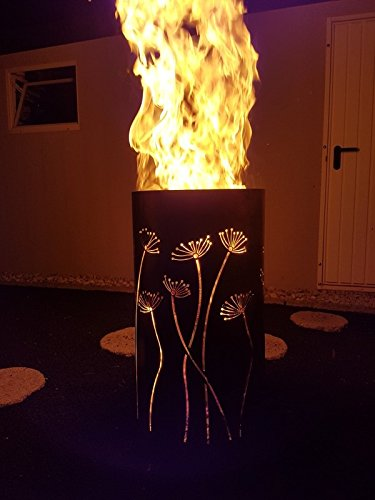 Tiko-Metalldesign Feuertonne/Feuerkorb mit Motiv Pusteblume