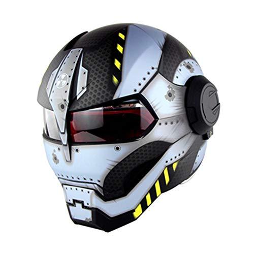 Evin Vollgesichts-Motorradhelm mit Sonnenschutz - DOT-Zertifizierung Persönlichkeit Innovation Retro-Iron-Man-Transformatoren Flip-Front-Motorradhelm mit Vollgesichtsschutz,Silver,L