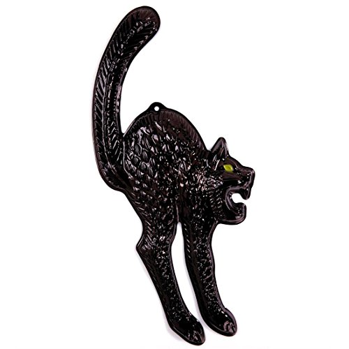 NET TOYS Schwarze Katze mit Neonaugen Halloween Katzen Deko 25 x 59 cm Cat Horror Figur Grusel Tür Dekoration Unglück Wanddeko Tier Horrordeko Raumdeko