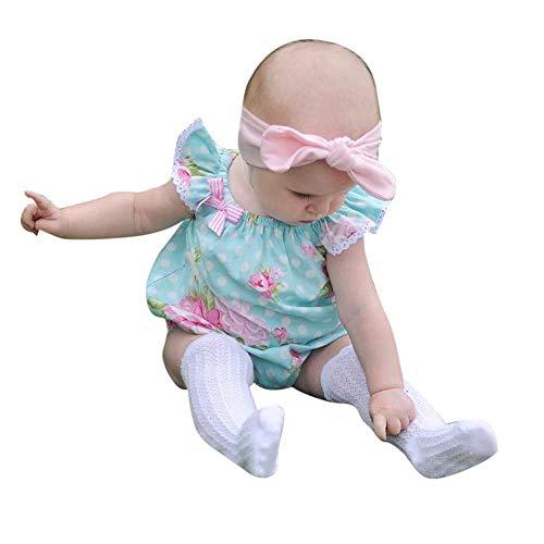Babykleidung Mädchen Rosa, Baby Mädchen Kleidung Set Sommerbaby-Blumen-Print-Punkt-Bogen-Spielanzug Kinder Mädchen Kleidung 92 ()