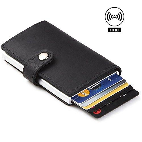 Dlife Tarjetero RFID Cartera Crédito, Cartera de Aleación de Aluminio Multiuso Bolsillos, Cuero PU Exterior Automáticas Desplegables para Hombres y Mujeres