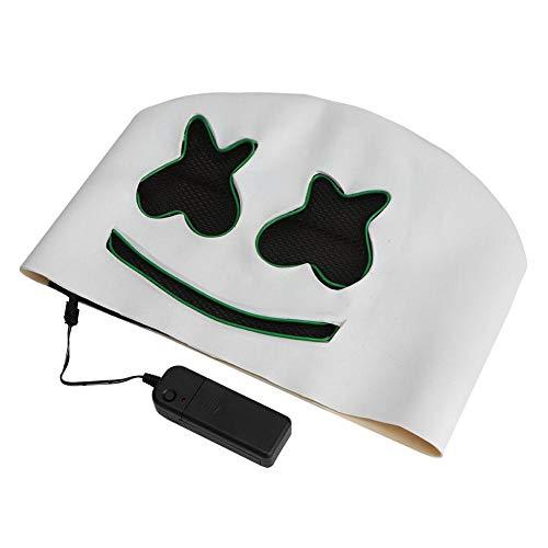 Halloween Cosplay Maske, gruselige LED Leuchtmasken mit lustiger Halskette für die Festival Cosplay Halloween Festivalparty(Grünes Licht)