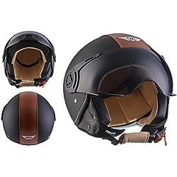 Moto Helmets H44 Bobber Vintage Chopper Demi-Jet Helmet Scooter Chopper Pilot Retro Biker Vespa Moto Mofa Casque Jet Cruiser, Noir (Vintage Black), S (55-56cm)