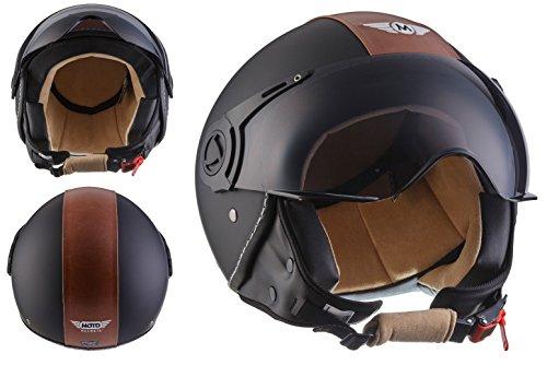 Moto Helmets H44 Bobber Vintage Chopper Demi-Jet Helmet Scooter Chopper Pilot Retro Biker Vespa Moto Mofa Casque Jet Cruiser, Noir (Vintage Black), M (57-58cm)