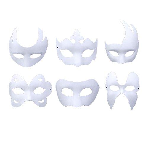 Halbmaske, 6 Stück Maske Unbemalt Maskerade Maske DIY Dekoration Maskenball Party Masken zum Bemalen Kinder Karneval Cosplay Kostüm Kindertag Geschenk für Kinder Frauen Männer ()