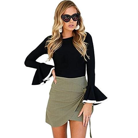 Femme Top à Manche Longue Shirt Top Blouse Slim Shirt élégant chemise Tops shirts hauts Blouse (S, noir)