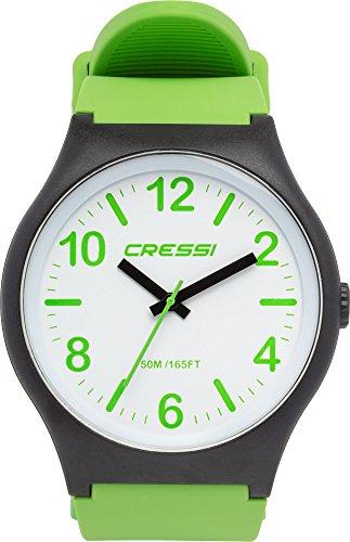 Cressi Watch Echo, Orologio Analogico Impermeabile 5 ATM Unisex, Nero/Bianco/Verde, Unica
