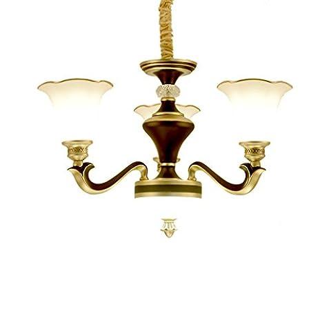 Yuyuan Light Im europäischen Stil eisernen Kronleuchter, einfache moderne Retro-Schlafzimmer Restaurant Halle dekoriert Deckenleuchte, 3 Kopf Blume-Form Glas Hängelampe, schwarz E27, ohne Glühbirnen