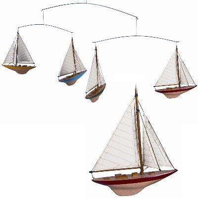 ProPassione Schiffe-Mobile America's Cup mit 4 Yachten, farbig. lackierte Holzrümpfe, echte Baumwollsegel, L 16,5 x B 3 x H 20,5 cm von ProPassione