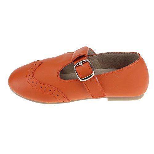 maxu filles T- Sangle Mary Jane Chaussures École robe à plat Orange