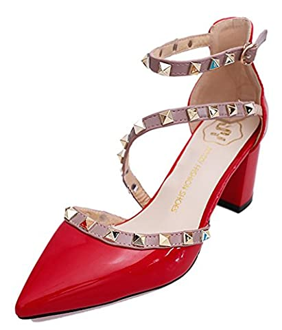 Minetom Women Spring Autumn Summer Single Fashion Rivet Rotate Sandals Thick High Heels Pointed Court Shoes Hollow Sexy Pumps Red UK