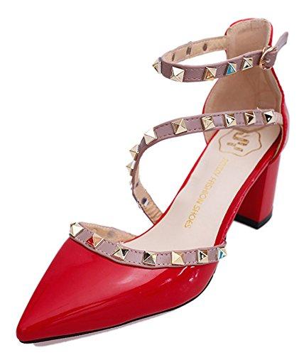 Minetom Cerrado Sandalias Verano Punta Estrecha Zapatos De La Señora Gruesa De Tacón Alto Remache Rotación Hebilla Moda Mujer Estiletes Atractivo Rojo EU 37