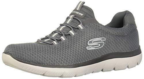 Skechers Herren Summits Slip On Sneaker, Grau Mesh/Trim Charcoal, 44 EU Trim Slip-ons