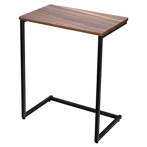 Homemaxs Sofa Beistelltisch Couch Beistelltisch Laptoptisch Holz und Stahl für Kaffee, Snacks, Tablet, 66 x 56 x 35.5 cm