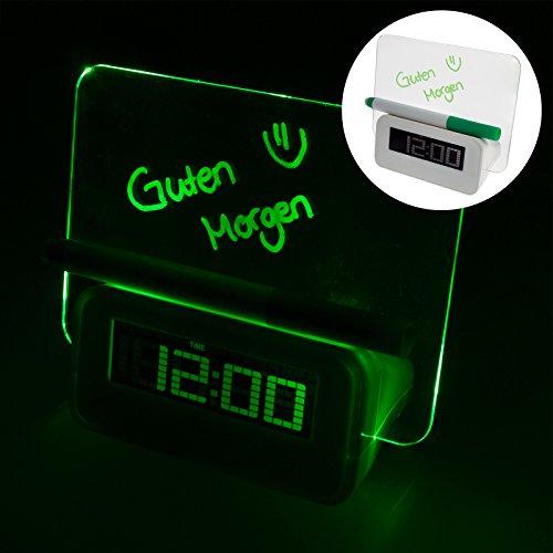 Smartfox LED Uhr mit Memo Nachricht Message Board Tafel Weckfunktion Alarm Datum Kalender Timer Temperaturanzeige Tischuhr mit Stift in grün Led Message Clock