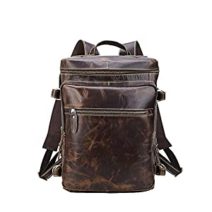 41s%2BiCiaw9L. SS300  - Leathario Mochila Tipo Caual Escolar Hombre Cuero Autentico Marron de Mano Backpack Laptop para Portátiles y Netbooks