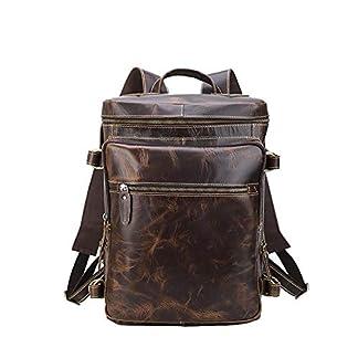 41s%2BiCiaw9L. SS324  - Leathario Mochila Tipo Caual Escolar Hombre Cuero Autentico Vintaje Retro de Mano Backpack Laptop para Portátiles y Netbooks