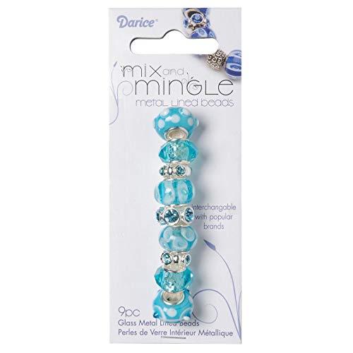 Darice Matrice Mix et Mingle Perles de verre en métal doublé Couleurs  assorties, Autre, #1999-2727-Aqua-Mix