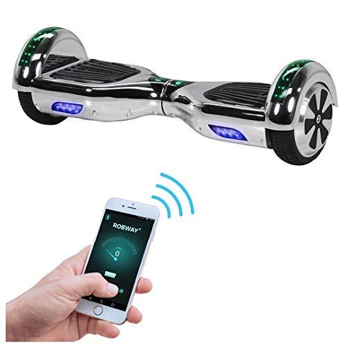 Robway W1 Hoverboard - UL2272 Akku - Self Balance - 11 Farben - Bluetooth - 2 x 350 Watt Motoren - App - 6,5 Zoll Reifen (UL2272 Silber Chrom)