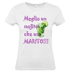 Idea Regalo - T-Shirt Maglietta Addio al Nubilato per Sposa : Meglio Un Mojito Che Un Marito - Gadget per Festa Addio al Nubilato (Taglia S)