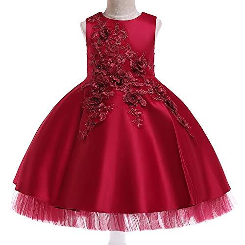 YARUDRESS Mädchen Kleid Tüll Prinzessin Ärmellos Tanzbekleidung Blumen Lang Rock mit Schmetterling Tütü für Kostüm Cosplay Party Brautkleider Prinzessin Kleid 5-15 ()