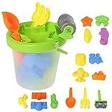Shinehalo giocattoli per sabbia e spiaggia per bambin, 16 pezzi, portatile Secchio imballato all'interno con Pale, Rastrelli, Veicoli, Creature del mare, Stampi per castello, per pulire e conservare facilmente (16PCS)