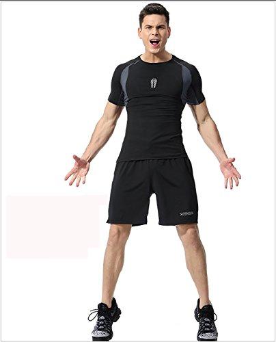 Männlicher Fitnessanzug Speed trockene Kleidung Trainingsanzug Basketballkleidung 2 Sätze Sport, Black, L
