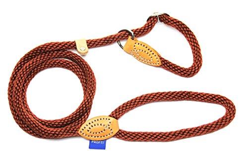 PROFTI Retrieverleine aus Nylon, Lederelemente, Zugstopp, große/kleine Hunde, 1,2x150cm, Braun