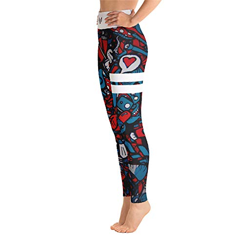 Beasts & Beauties Bombshell Sexy Damen High Waist Leggins für Frauen (Comic Rot Blau, S)