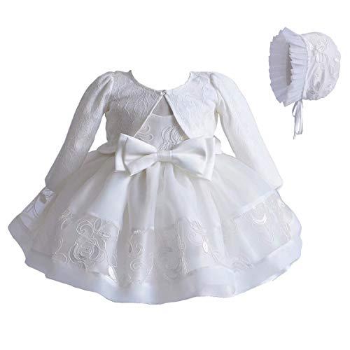 Baby Mädchen 3 TLG Set Taufkleid Weiße Spitze A-Linie Kleid Tüll Stickerei + Lange Ärmel Strickjacke + Kleine Taufe Mütze Outfit Set