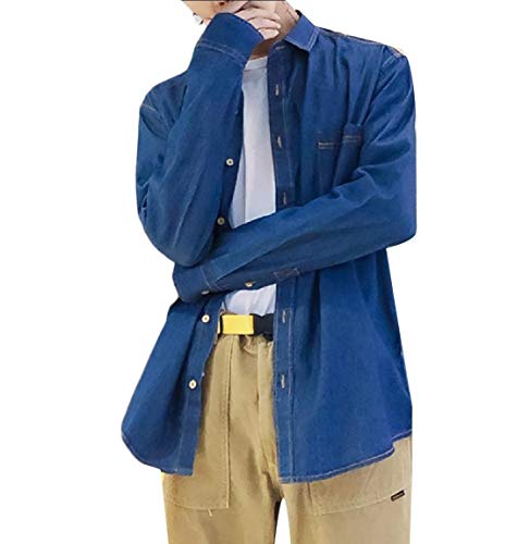 Andopa Herren slim fit cow shirt loose fit regular-fit trucker jacket US M=China L Dunkelblau