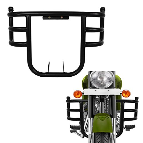 Trustway LG-19 Bike Bullet 3 Bend Bar-Rod Stylish Front Airfly Leg Guard Black for Royal Enfield Classic 350