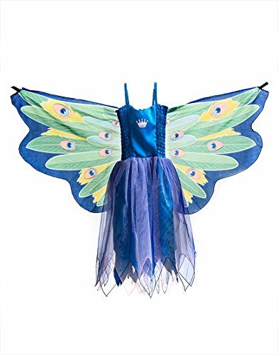 99 Dress, Fly-Away-Kleidchen, Peacock, Blaue Pfau Pavo cristatus, S 4-5 YRS ()