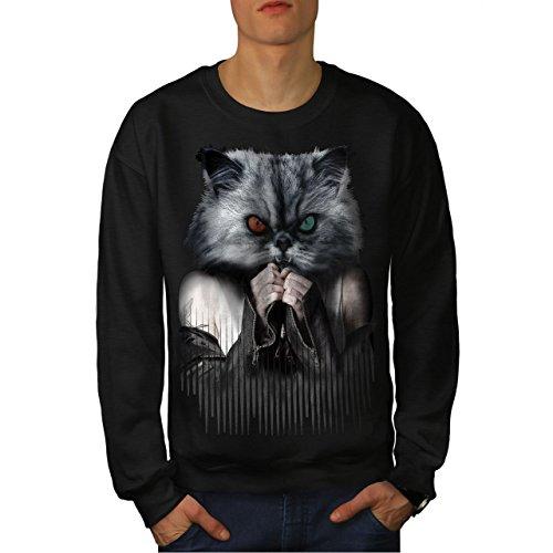 Tier Gesicht Katze Männer Sweatshirt Mürrisch Lässiger Pullover ()