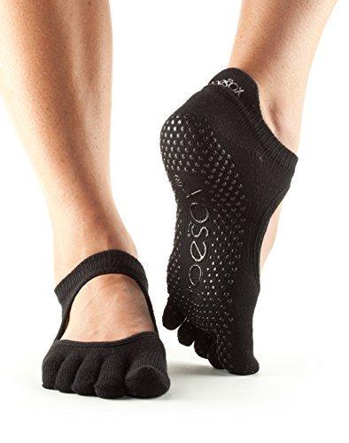 Toe Sox Full Toesox BELLARINA Yoga-Socken, Unisex Erwachsene M Schwarz (Green Toe Schuhe)
