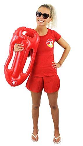 ILOVEFANCYDRESS Frauen LEBENRETTER KOSTÜM VERKLEIDUNG=ROTES Tshirt+ROTE Shorts+BOJE=Sommer Pool Party ODER Strand=Fasching SEXY -MEDIUM (Sexy Kostüm Baywatch)