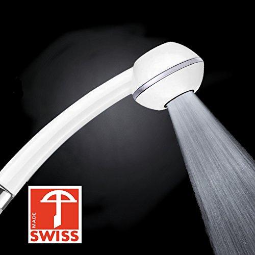 Preisvergleich Produktbild Duschkopf CHIC + WOW! Mehr Druck beim Duschen mit Durchlauferhitzer oder im 4. Stock. Handbrause druckaufbauend,  verkalkungsfrei,  wassersparend,  Schweizer Produktion (ohne Softspray-Aufsatz+ohne Zusatzregler wie bei anderen Modellen dieser Handbrause)