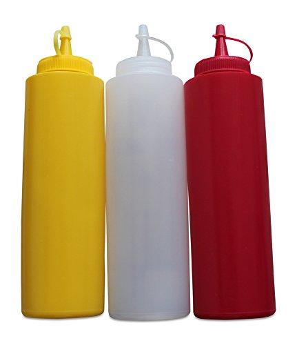 getgastro–Botella Gastro Juego greehome Ketchup Mostaza mayonesa 400ml | dispensador de salsa | Botella dosificadora | dispensador de salsas |–Botella, color rojo, amarillo y blanco